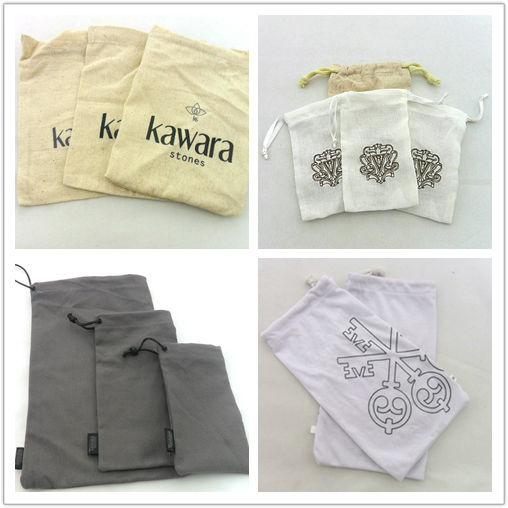 Custom Promotion Drawstring Free Logo Cotton Pouch