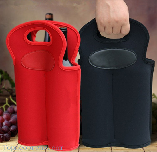 Customized Neoprene Double Wine Bottle Sleeve Cover Carrier Tote Bag