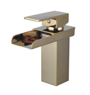 Deck Mounted Single Handle Golden Waterfall Basin Faucet