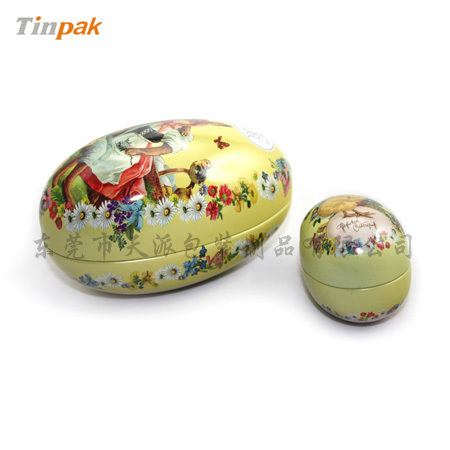 Decorated Egg Shaped Easter Tin Box