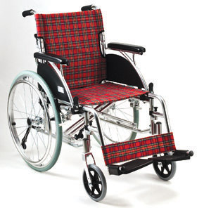 Deluxe Aluminum Wheelchair Red Checker Pattern