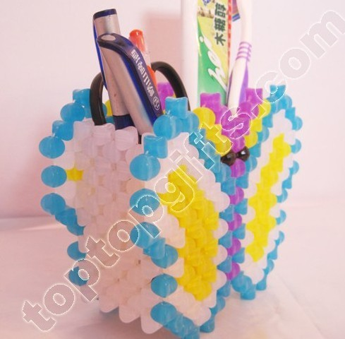 Diy Acrylic Beaded Butterfly Brush Pot Plastic Bead Animal Penholder