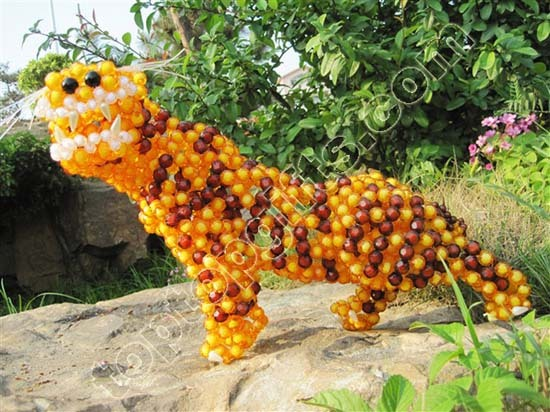 Diy Acrylic Beaded Tiger Decoration Lucky Animal Figurine