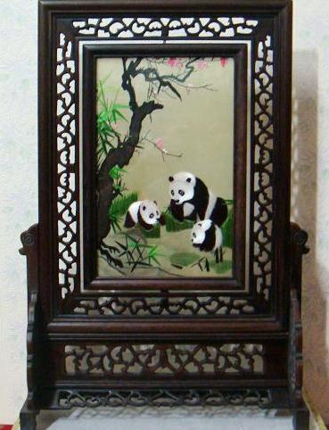 Double Sided Silk Embroidery Panda Table Screen