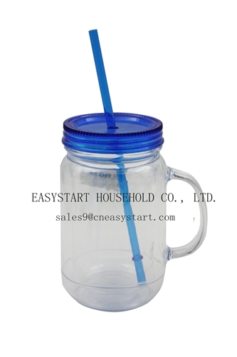 Double Wall Mason Jar 20 Oz With Handles Plas