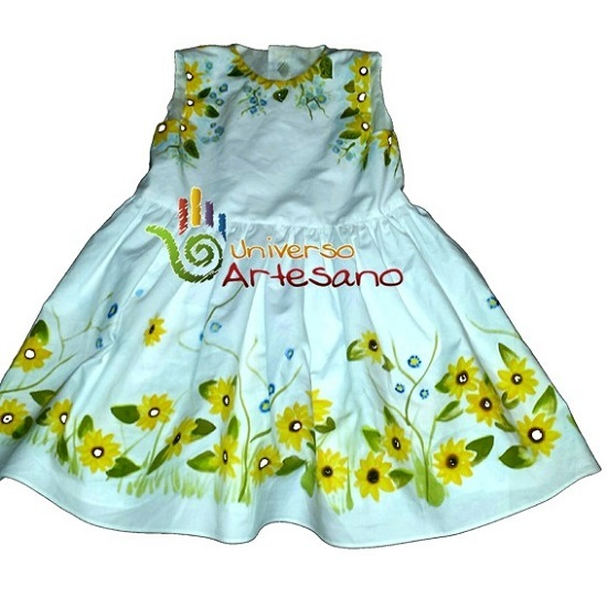 Dress For Girls Hand Pained 100 Pima Cotton Brand Universo Artesano