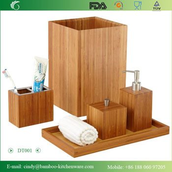 Dt001 Bamboo Bath And Vanity Set 5 Pcs Accessory