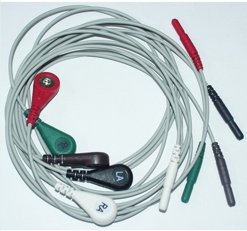 Ecg Ekg 5 Lead Patient Monitor Cable Leads Wires Banana Snap