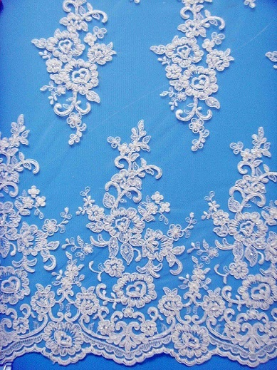 Embroidered Tulle Lace Fabric For Wedding Dress