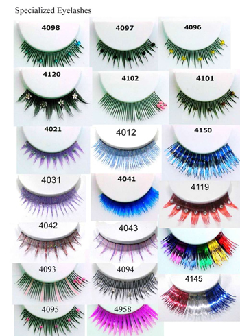False Eyelashes Of Different Shape Colors Materials