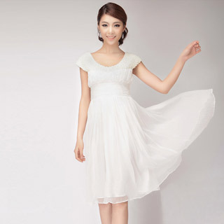 Fashion Collection Cap Sleeve Beaded White Evening Dress