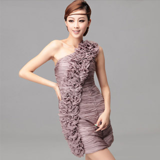 Fashion Collection One Shoulder Ruffle Sleeveless Cocktail Dress