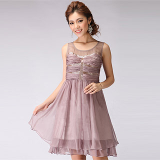 Fashion Collection Ruffle Sleeveless Beaded Formal Dress