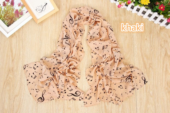Fashion Happy Music Note Pattern Chiffon Long Scarf Made In China