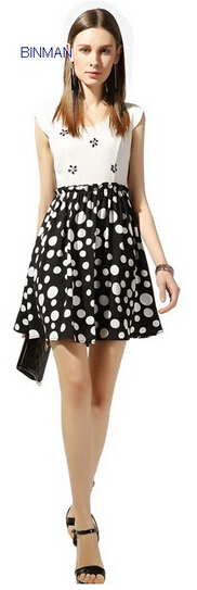 Fashion Splicing Beading Dress