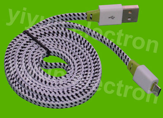 Flat Colorful Fabric Micro Usb Cable For Andriod Phones Htc Samsung Etc Yap