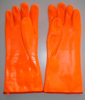 Flourescent Pvc Glove Gauntlet Sandy Finish