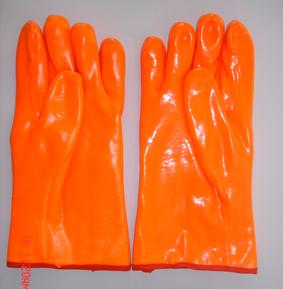Flourescent Pvc Glove Gauntlet Smooth Finish