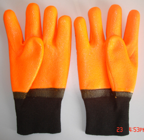 Flourescent Pvc Glove Knit Wrist Sandy Finish