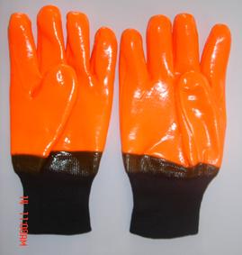 Flourescent Pvc Glove Knit Wrist