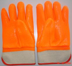 Flourescent Pvc Glove Safety Cuff Sandy Finish