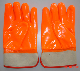 Flourescent Pvc Glove Safety Cuff Smooth Finish