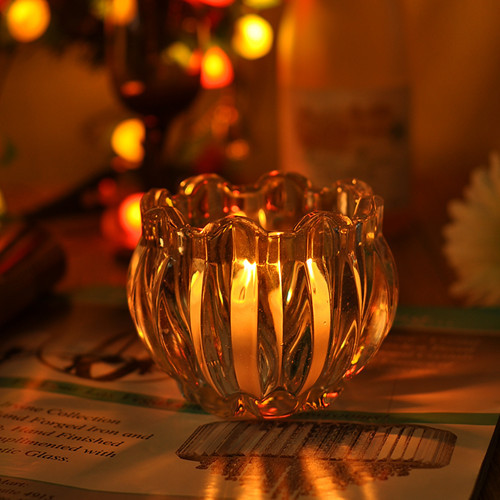 Flower Shape Glass Candle Holder