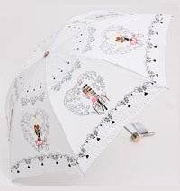 Folding Umbrella White Rain