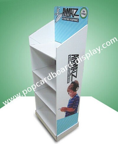 Four Shelf Pop Cardboard Display Eco Friendly With Different Header Cards