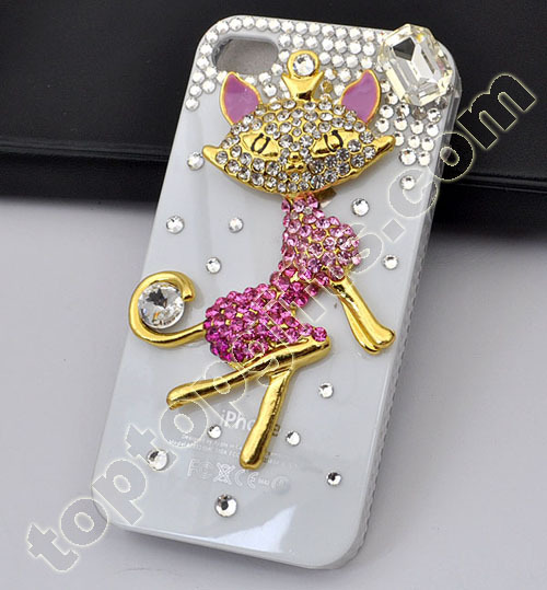 Fox Rhinestone Iphone4 Hard Case Cover