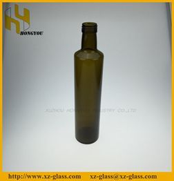 Glass Material And Cooking Oil Industrial Use Round Shape Dark Amber Bottle