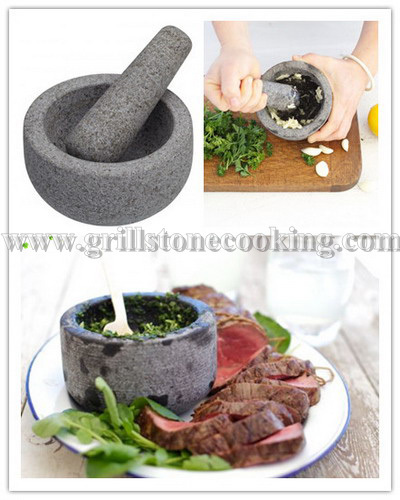 Glassic Natural Granite Mortar And Pestle For Grinding Spice Garlic