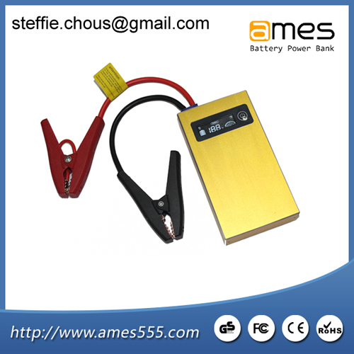 Gold Lcd Display Multi Function Car Jump Starter Power Bank
