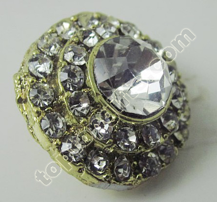 Gold Plated Rhinestone Button