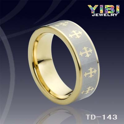 Golden Mark Inlaid Tungsten Wholesale Price Mens Wedding Rings