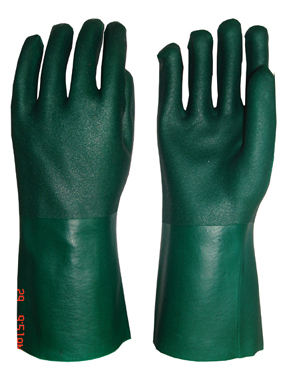 Green Double Dipped Pvc Glove Fine Sandy Finish