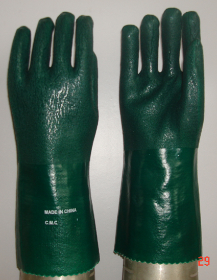 Green Double Dipped Pvc Glove Rough Sandy Finish