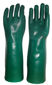 Green Double Dipped Pvc Glove Spray Sandy Finish