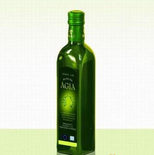 Green Oil Glass Bottle Square Olive