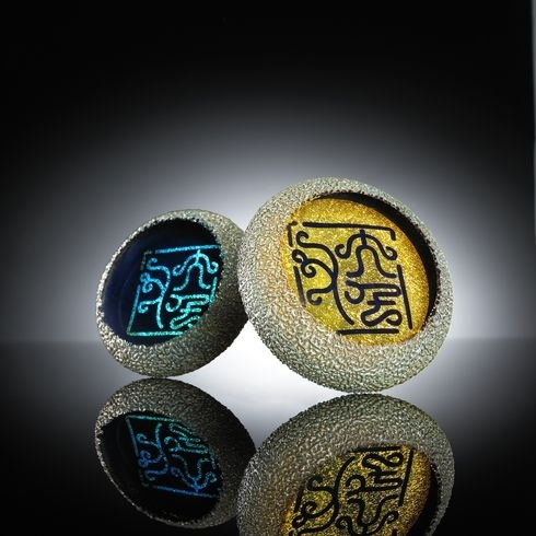 Hand Blown Glass Crafts Dichroic Image Paper Weight