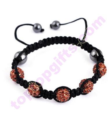 Handmade Adjustable Metal Rhinestone Shamballa Bracelet