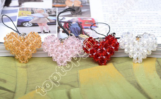 Handmade Crystal Beaded Heart Charms