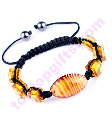 Handmade Square And Oval Glass Shamballa Bracelet