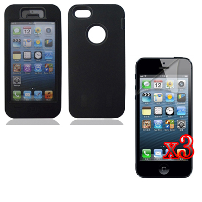 Hard Rubber Coated Case Cover Silicone Shell Film Apple Iphone 5