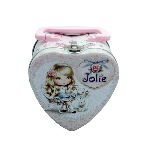 Heart Shaped Chocolate Tin Box With Handle