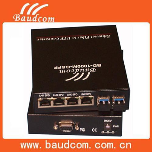 High Performance 4 Ports Fiber Optic Media Converter