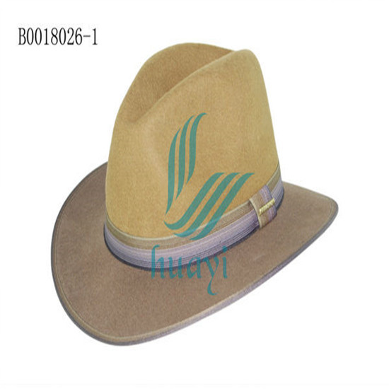 High Quality Wool Felt Cowboy Hat With Feather Decoration