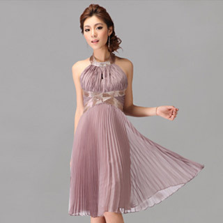 Hot Sale Pleated Halter Neck Backless Cocktail Dress