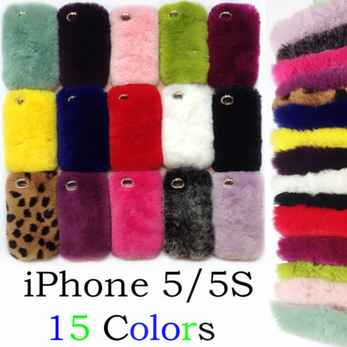 Iclover Luxury Rex Rabbit Fur Case For Iphone 5 5s 4 4s
