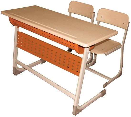 Inci Double School Desk With Panel Werzalit